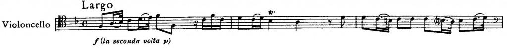 Melodie z první věty první cellové sonáty B. Marcella