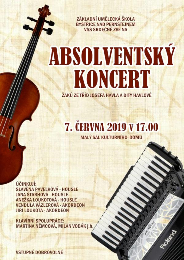 Plakátek absolventský koncert ZUŠ BnP