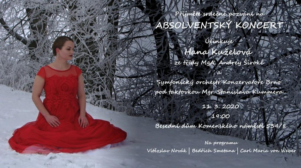 Pozvánka na absolventský koncert Hany Kuželové